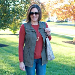 Daily Mom Style: Olive Utility Vest + Brick Red Sweatshirt Tee