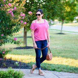 Casual End-of-Summer Outfit: Pink + Denim