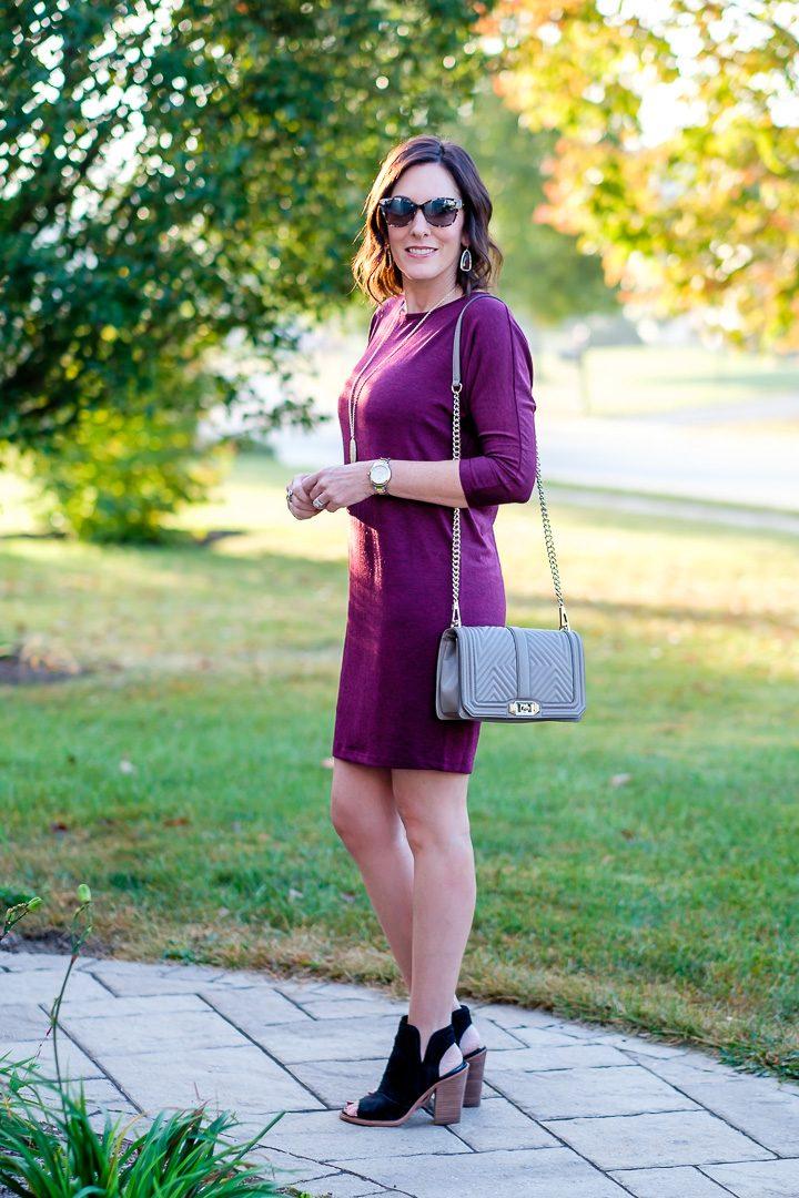 Jo-Lynne Shane wearing a fall dress outfit with peep-toe booties. #fallfashion #falldress