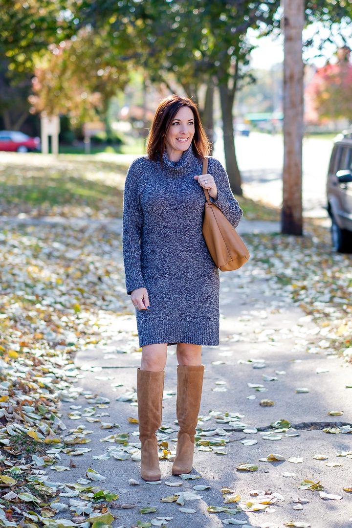 25 Days of Winter Fashion Turtleneck Sweater Dress
