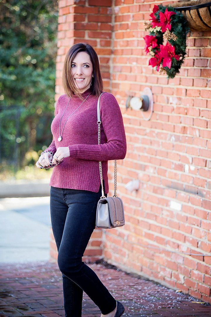 59e9c404777 casual winter outfit  Madewell Inland rolled turtleneck with Hudson Nico  skinnies and Vince Milo suede