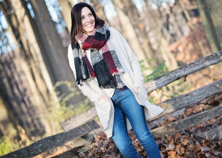 Rib Trim Cardigan with Plaid Bouclé Scarf