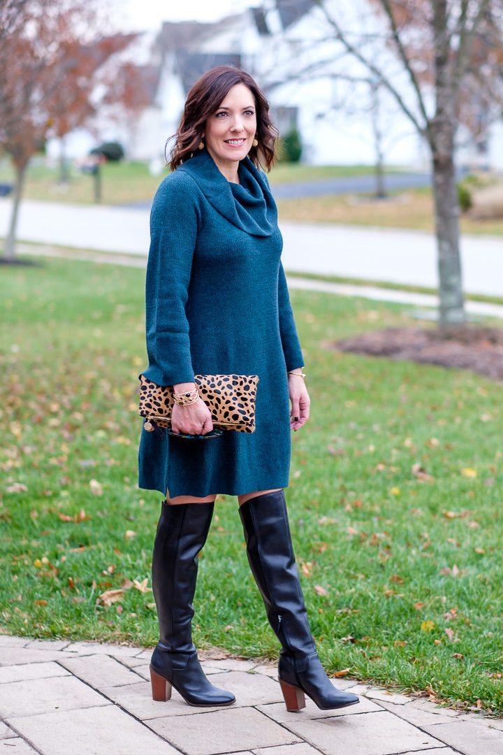 25 Days of Winter Fashion: Jo-Lynne Shane wearing LOFT cowlneck sweater dress with black OTK boots and leopard clutch.
