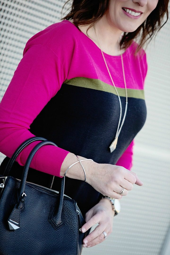 Winter Outfit: Ann Taylor Colorblock Sweater with Black Jeans | #fashion #winteroutfit #fashionover40 | Jo-Lynne Shane