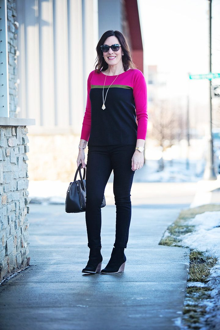 ec05afe7ad Colorblock Sweater Outfit with Two Footwear Options