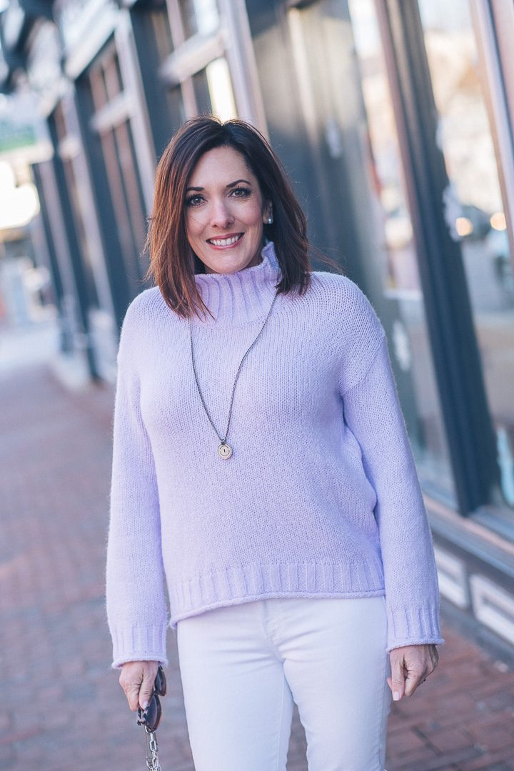 Lavender Mock Neck Sweater with White Jeans | Winter Outfit #winteroutfit