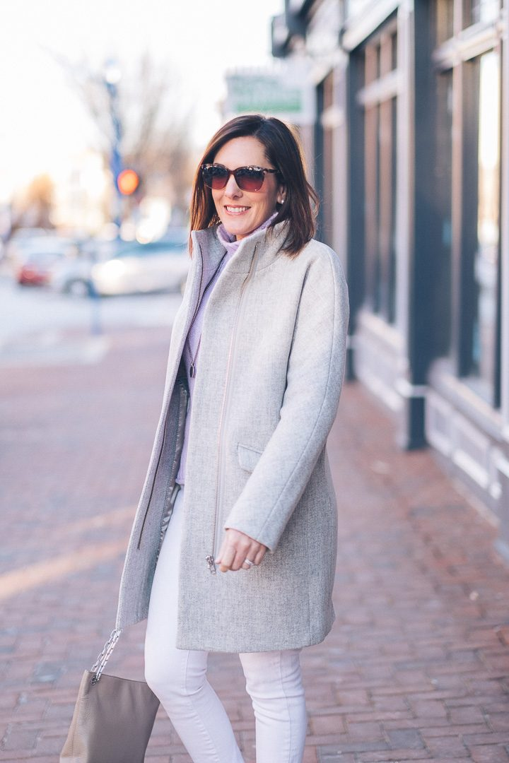 Winter Outfit Inspo: White Jeans Outfit with Lavender | Fashion Over 40 | Jo-Lynne Shane #winterfashion #fashionover40