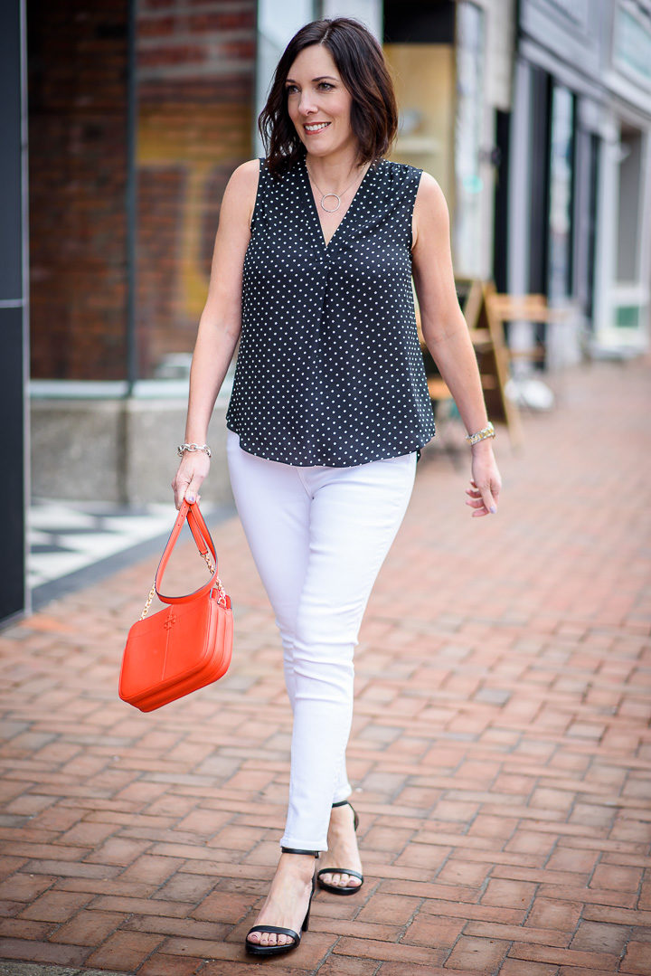 Spring Outfit: Vince Camuto Poetic Dots Sleeveless V-Neck Blouse in Rich Black with white Topshop Jamie high waist skinny ankle jeans and Stuart Weitzman NearlyNude Ankle Strap Sandals in Black Nappa