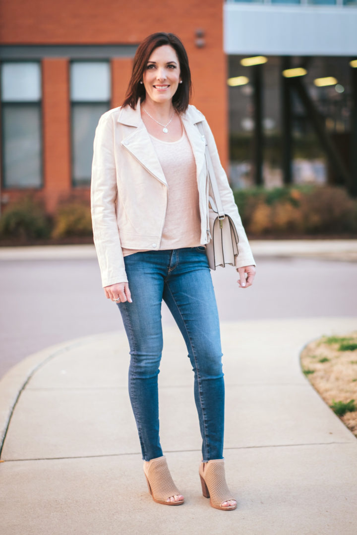 22 Days of Spring Fashion: BlankNYC suede moto jacket, AG raw hem legging ankle jeans, Vince Camuoto Kensa peep-toe booties, and Loeffler Randall minimal rider leather satchel | Spring Outfit Ideas