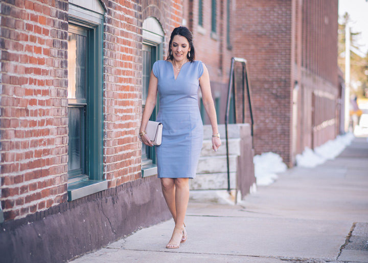 Spring Outfit | Easter Dress | What to wear to a spring wedding: French Connection Lolo sheath with Stuart Weitzman Nudistsong sandals and KSNY convertible shoulder bag