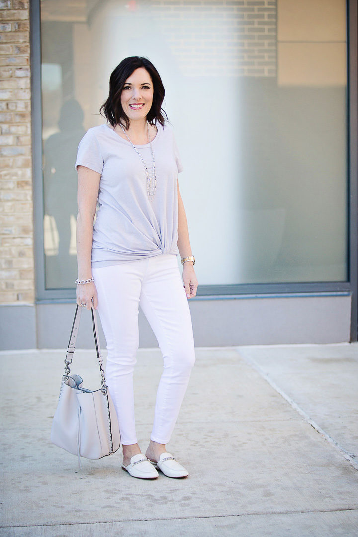 Spring Outfit: grey twist front tee with white Paige Verdugo ankle skinny jeans and white mules
