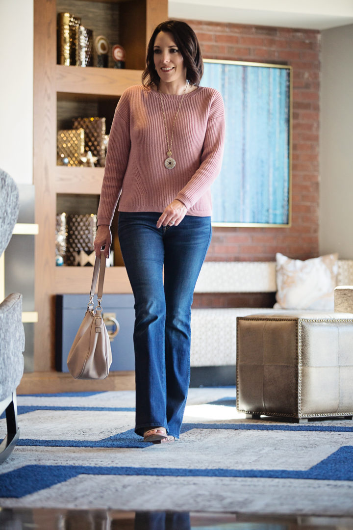 Spring Outfit: Ann Taylor Mauve Sweater with 7FAM Bootcut Jeans and Vince Camuto Kensa Perforated Peep-Toe Booties
