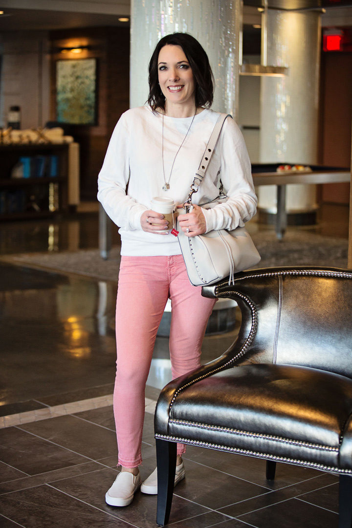 White Pullover with Pink Jeans and Vans