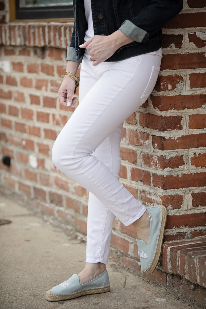 Paige Verdugo Ankle Skinny Jeans with Soludos C'est La Vie Smoking Slippers
