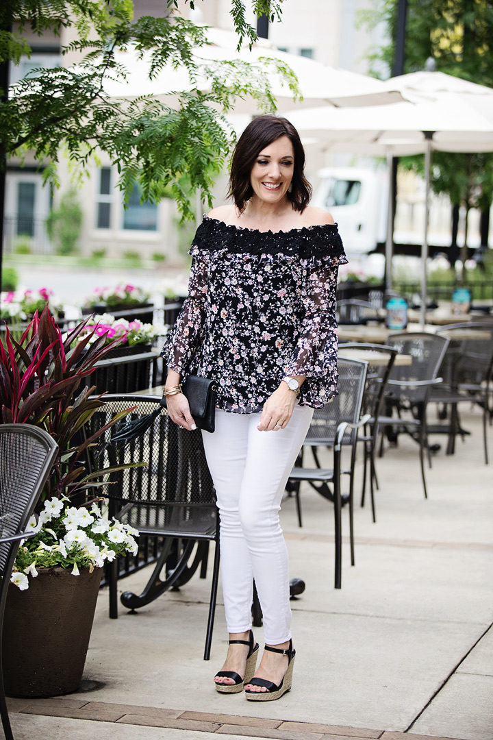 Summer Date Night Look: off-the-shoulder top with white jeans and wedge sandals