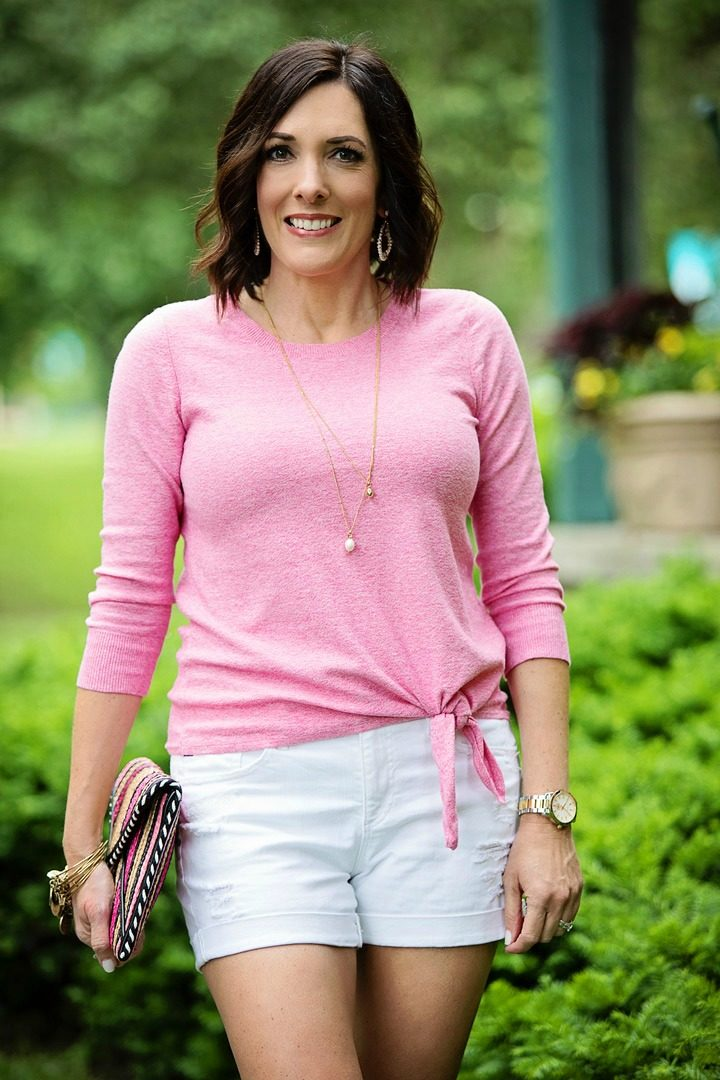 How to Wear Shorts with a Sweater - see more at jolynneshane.com! #summerstyle #summeroutfit #momstyle