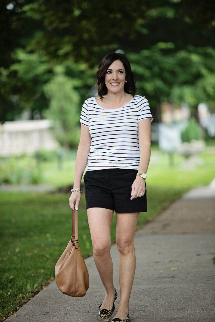 How to Wear Shorts with Ballet Flats for Women Over 40: dressier than jean shorts and a t-shirt, but still cool and comfortable for those hot summer days!