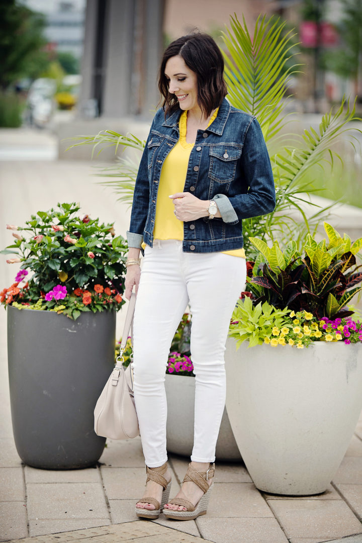 a534d664f3a0 ... a denim jacket along. Any bright top (or pastel