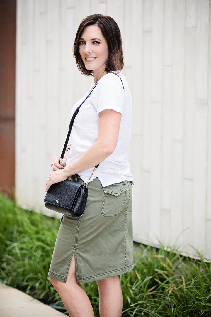 Jo-Lynne Shane wearing the Caslon twill utility skirt two ways -- for now and later!