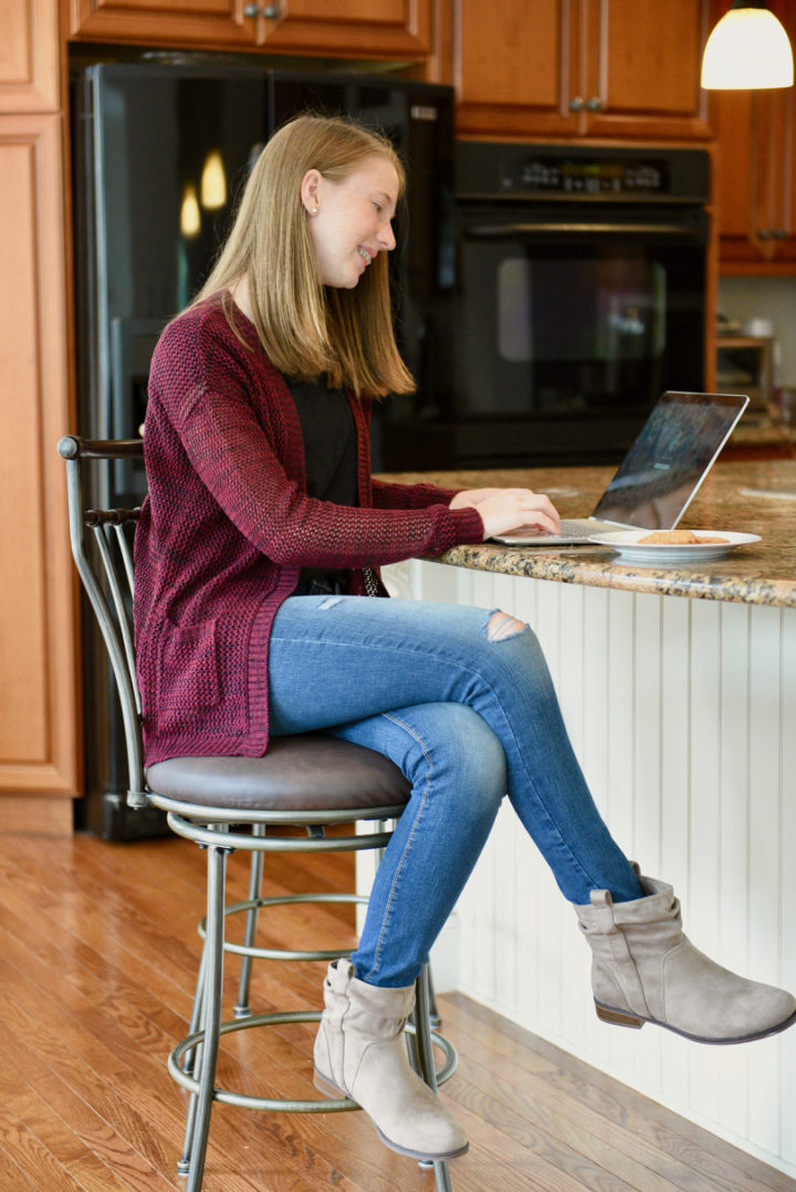 Tween Back to School Outfits with Kohl's: SO® lattice boyfriend cardigan, SO® crocheted pocket tee, DENIZEN from Levi's jegging jeans in Crush, SONOMA Goods for Life™ Tupelo ankle boots