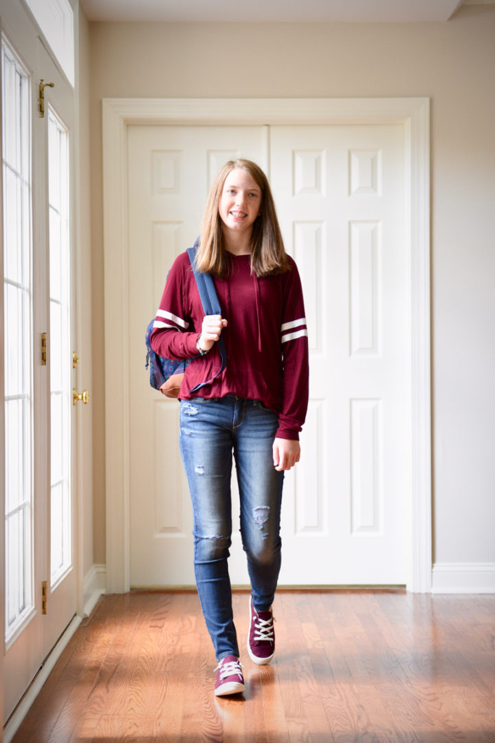 Tween Back to School Outfits with Kohl's: varsity stripe hoodie, DENIZEN from Levi's jegging jeans, and madden NYC slip-on sneakers