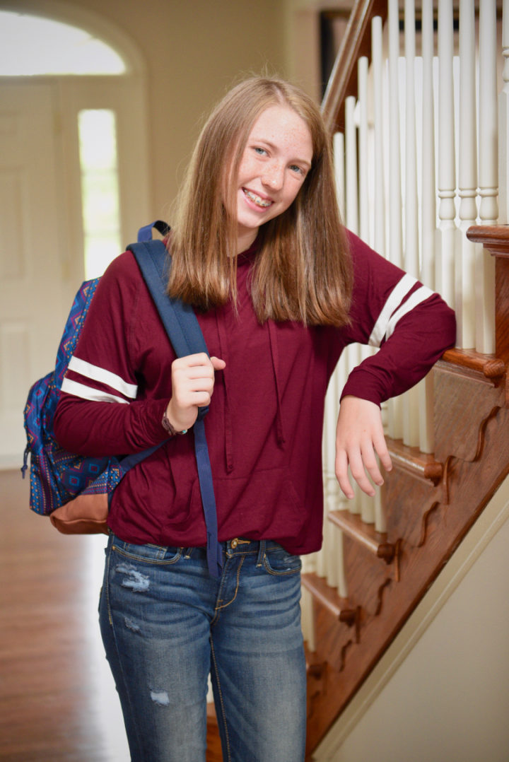 Tween Back to School Outfits with Kohl's: varsity stripe hoodie with DENIZEN from Levi's jegging jeans