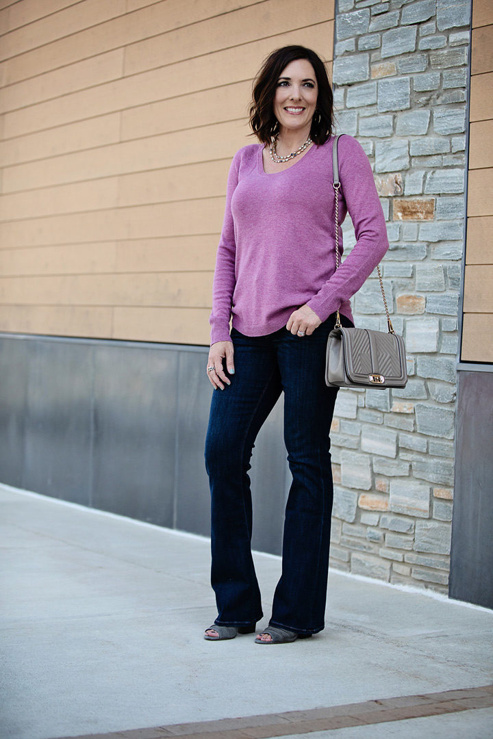 9e5576577a I paired them with this gorgeous purple scoop neck sweater from Loft. I  discovered this sweater when I was in the store last week