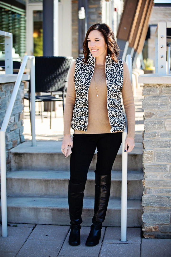Jo-Lynne Shane wearing Loft Leopard Print Vest, Halogen Cashmere Crewneck Sweater, AG The Legging Ankle Jeans in Super Black, and Blondo Ellie Waterproof Knee High Riding Boots #fallfashion #falloutfit #leopardprint