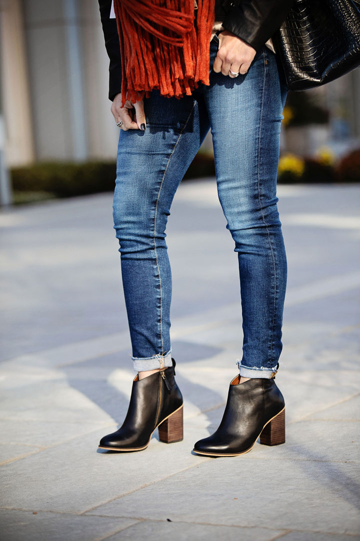 Winter Scarf Outfit with AG Raw Hem The Legging Ankle Jeans and BP. Lance Booties