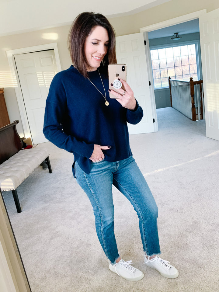 Jo-Lynne Shane wearing 3x1 Women's W3 Straight Authentic Crop Jeans with Veja Esplar Sneakers