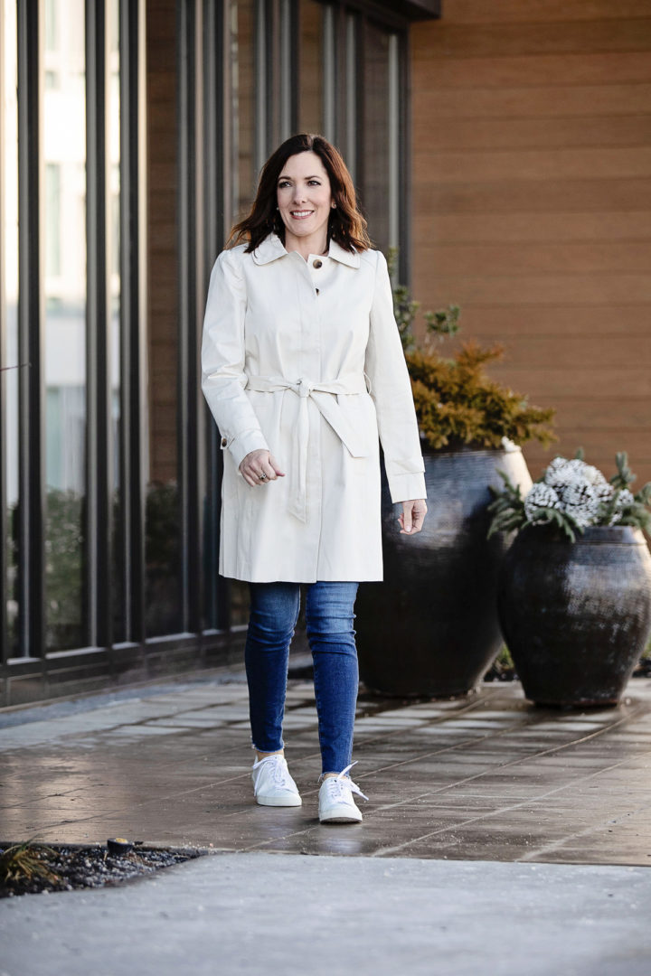 Spring Transition Look featuring LOFT Modern Trench Coat, J.Crew Contrast Slub Cotton Ringer T-shirt in Stripes, AG The Legging Ankle Jeans, and Veja Esplar Sneakers