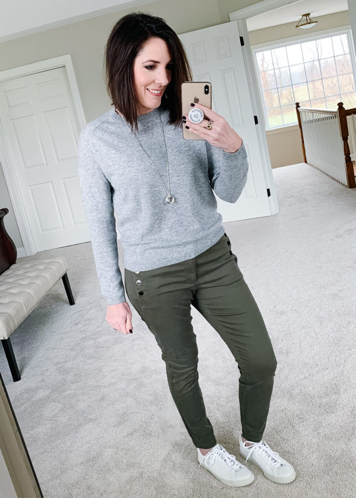 Jo-Lynne Shane wearing VEJA Esplar with LOFT Sailor Skinny Pants, and a grey cashmere crewneck pullover sweater.