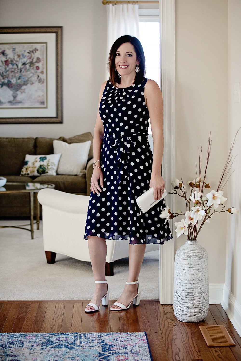 Spring Style with JCPenney: Polkadot Chiffon Fit & Flare Dress with white ankle strap sandals | Easter Dress | Spring Dress | Fashion for Women Over 40