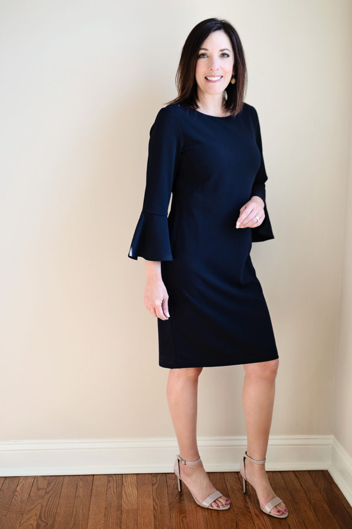 Spring Style with JCPenney: Liz Claiborne 3/4 Bell Sleeve Sheath Dress with lavender patent Worthington Bristol Pumps Strap Open Toe Stiletto Heels | Easter Dress | Spring Dress | Fashion for Women Over 40
