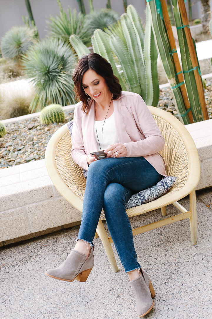 7f5e95db433 Pink Draped Jacket in Arizona + Nordstrom Bonus Points Event · Suede Moto +  Snakeskin Booties