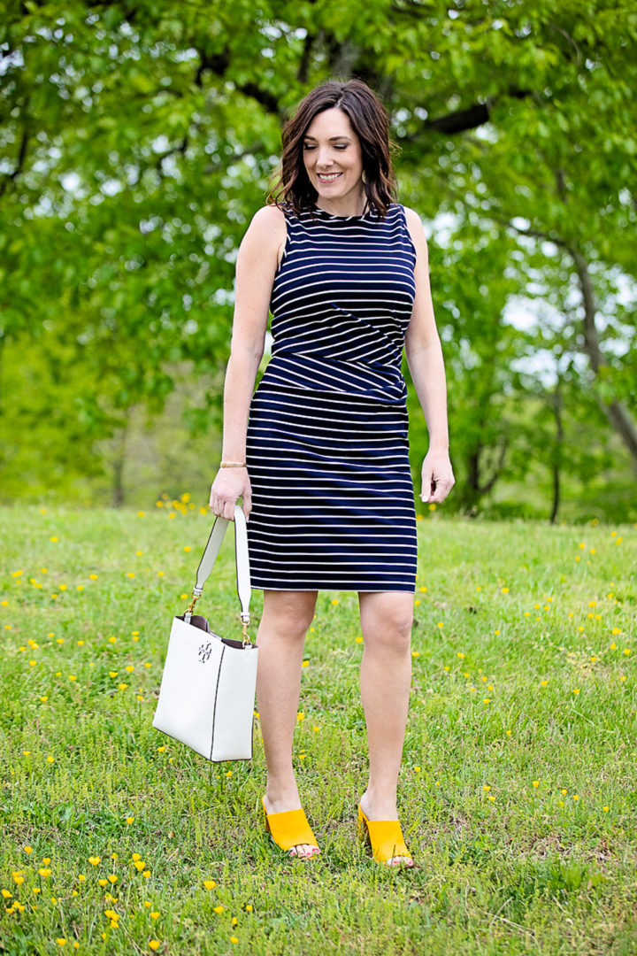 What to Wear to a Graduation Ceremony: 1901 Ruched Stripe Sheath Dress with Steve Madden Esmeralda Slide Sandal and Tory Burch McGraw Hobo