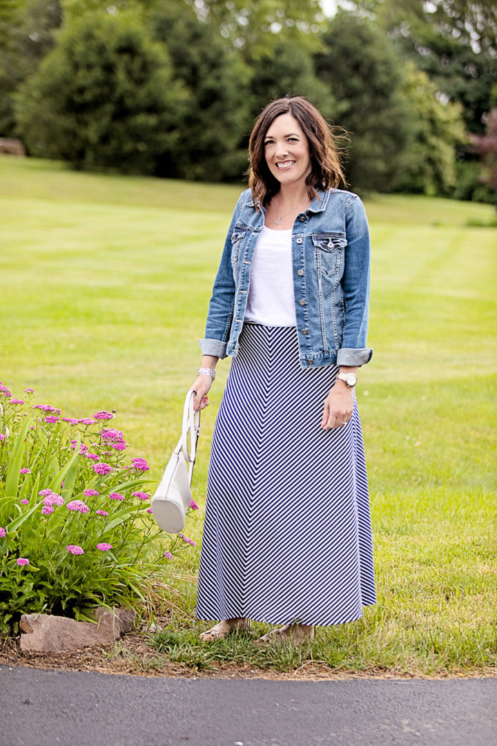 Summer Maxi Skirt Outfit: LOFT Chevron Maxi Skirt with Vince Camuto denim jacket and Nine West Gianna Slides
