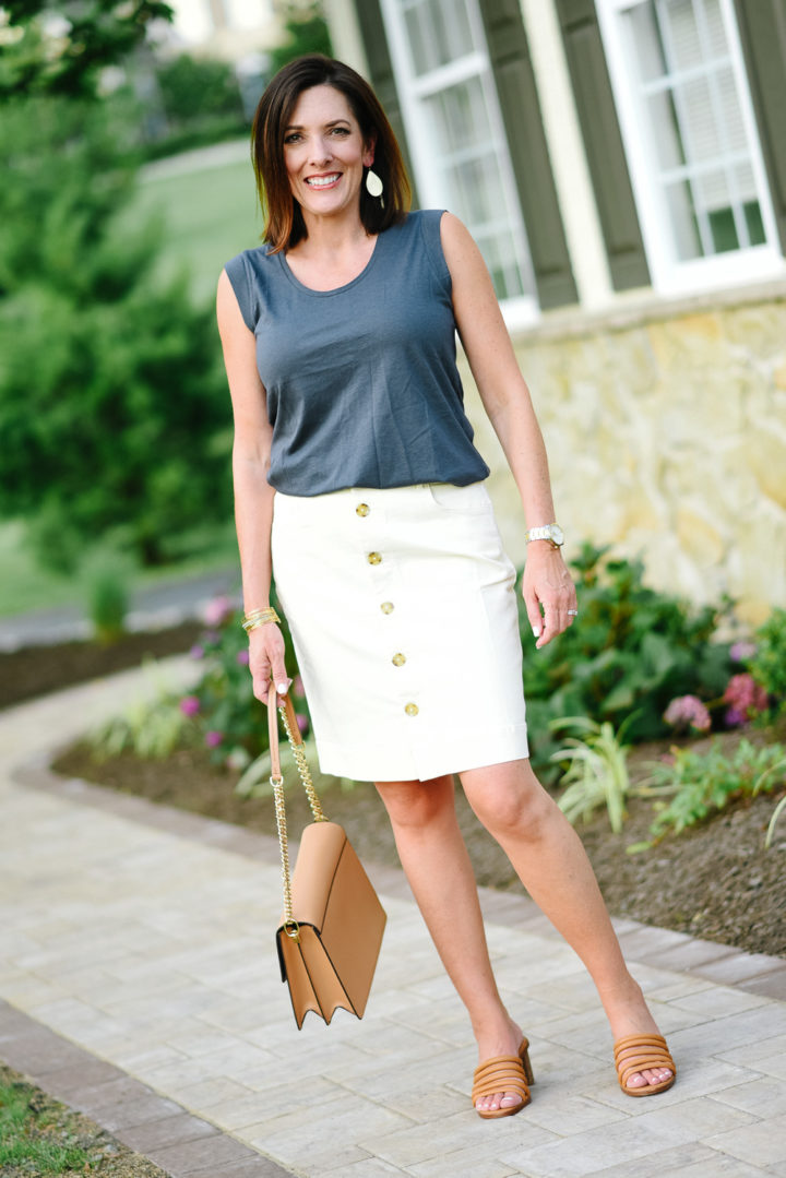 Summer Pencil Skirt Outfit with LOFT Denim Button Front Pencil Skirt in Caribbean Sand and Madewell The Addie High Heel Mules