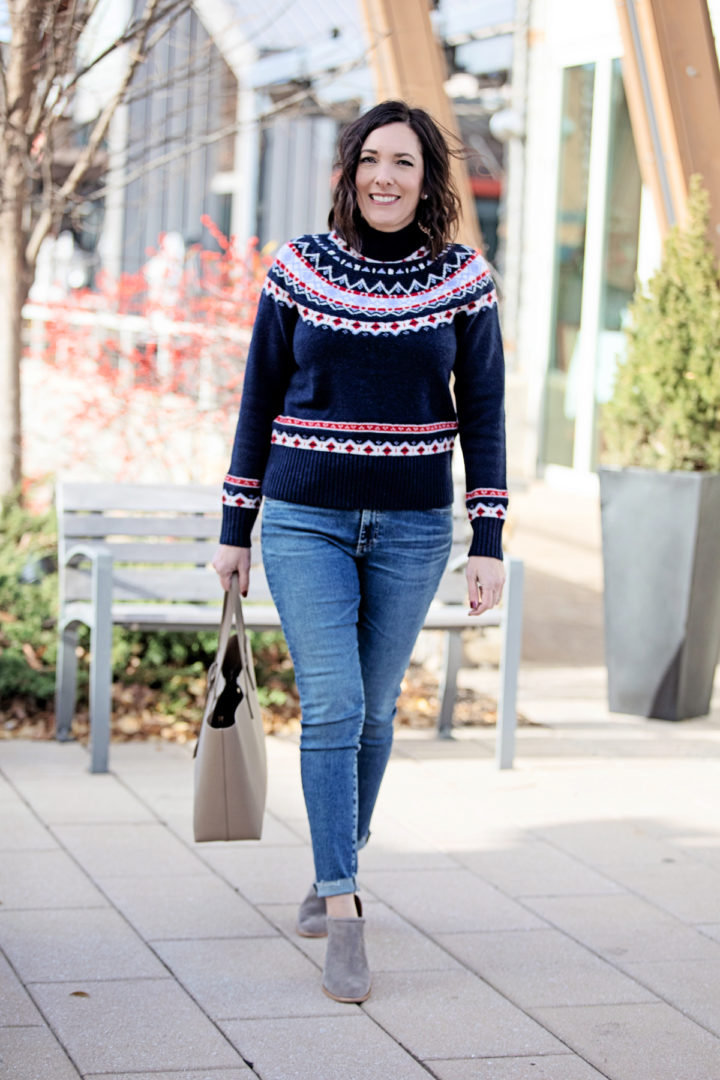 Jo-Lynne Shane wearing a fair isle sweater outfit with J.Crew Rollneck Sweater in Fair Isle