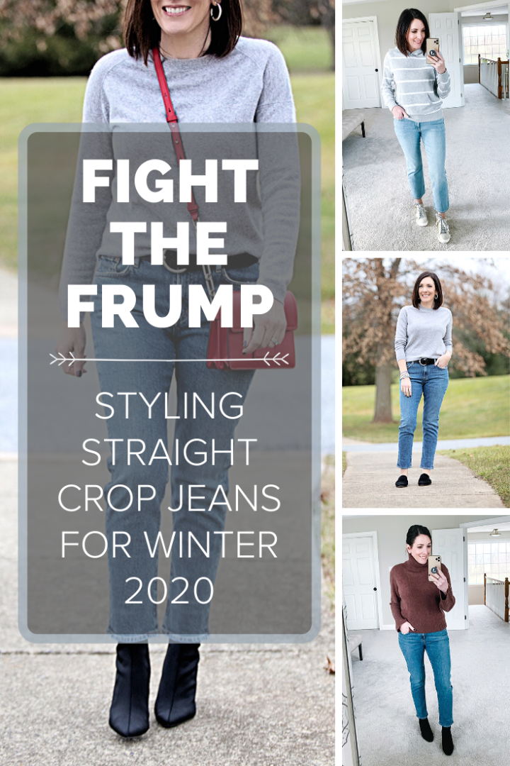 Showing you how to style straight crop jeans for winter with boots, mules, and sneakers. Lots of outfit ideas!