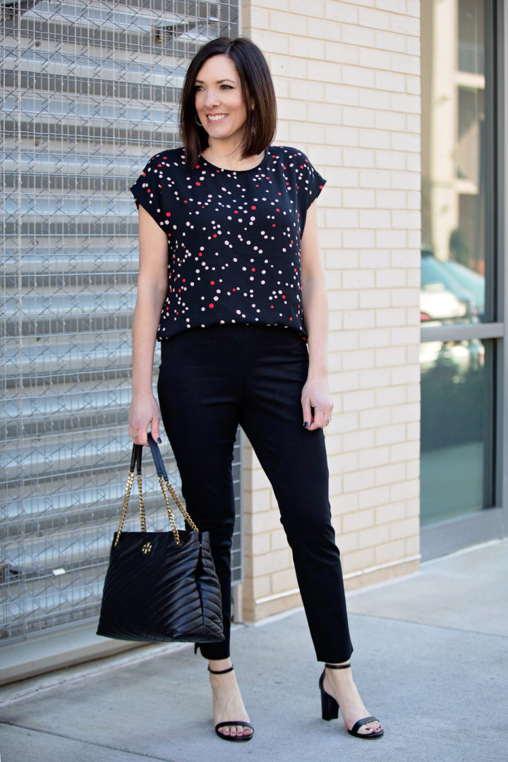 spring work wear looks with black skinny ankle pants
