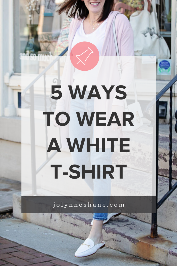5 Ways to Wear a White T-Shirt: There is no more essential wardrobe piece than a white t-shirt, so I rounded up 5 easy ways to wear a white t-shirt, with real-life examples! Click through to see them all, and tell me which is your favorite!