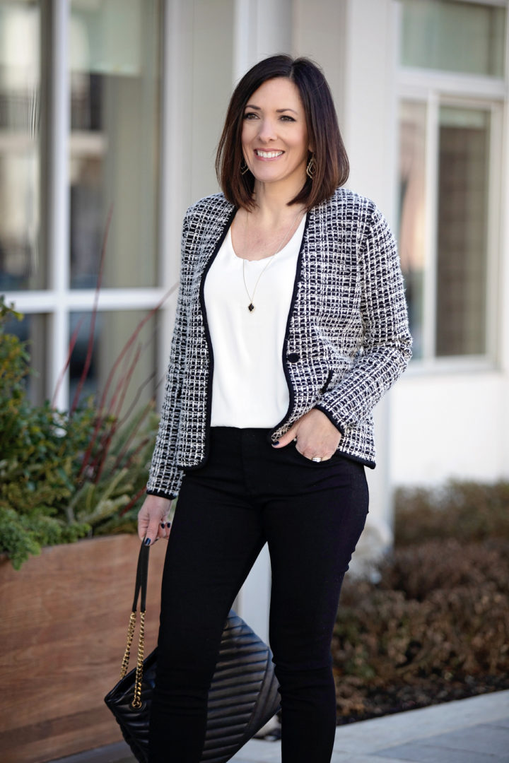 Classy Tweed Jacket Outfit for Date Night or Work