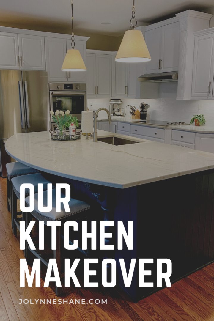 Kitchen Makeover: quartzite counters, subway tile backsplash, painted cabinets, new appliances