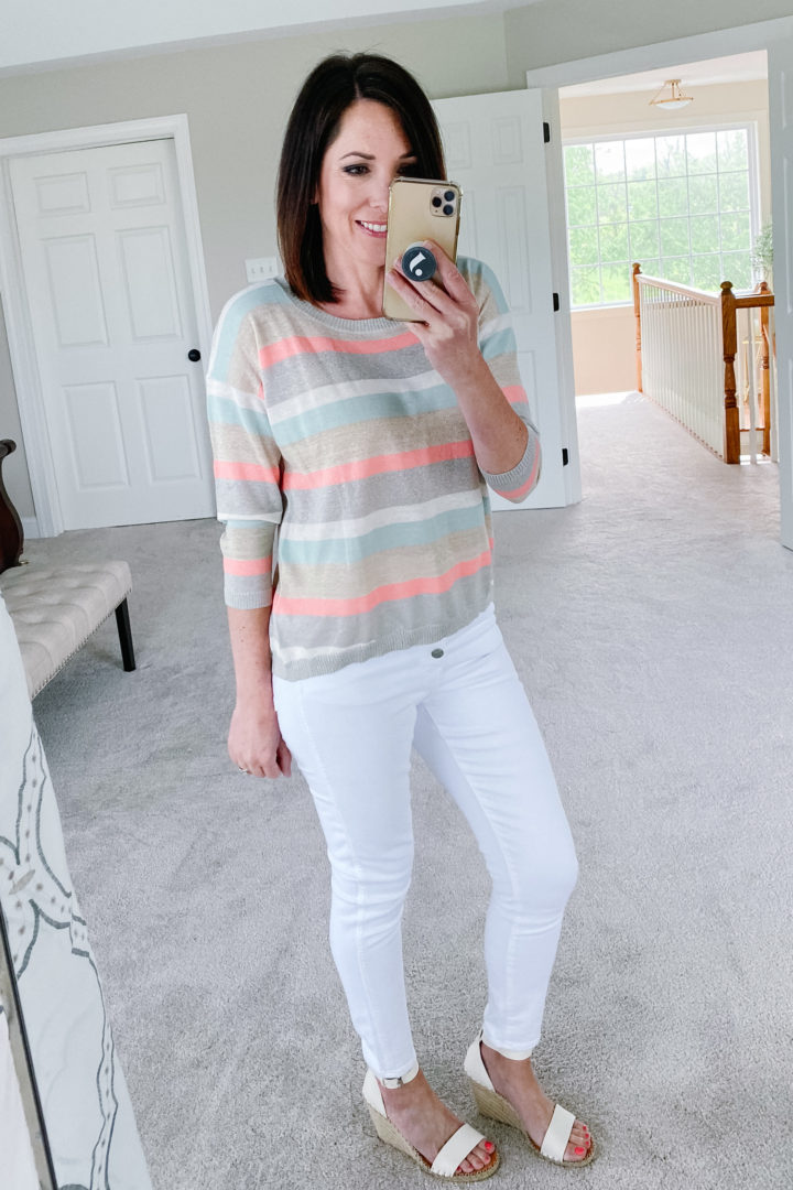 LOFT shimmer striped 3/4 sleeve sweater with Madewell 10-Inch High Waist Crop Skinny Jeans
