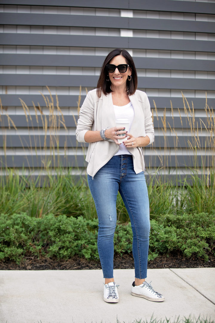 casual fall outfit ideas with drape front moto jacket
