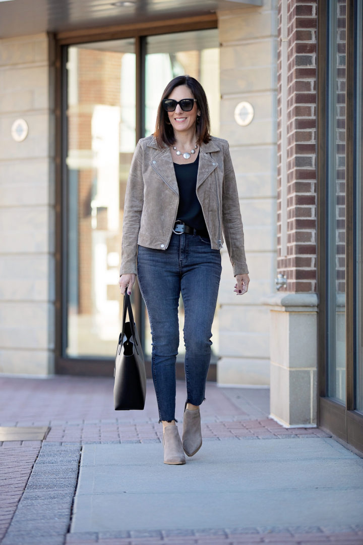 Jo-Lynne Shane wearing a taupe suede moto jacket outfit for fall