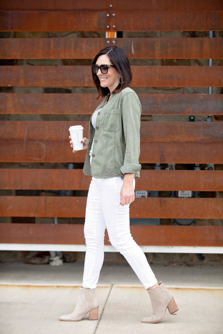 Try This: Utility Jacket + White Jeans with Grey Tee and Ankle Boots