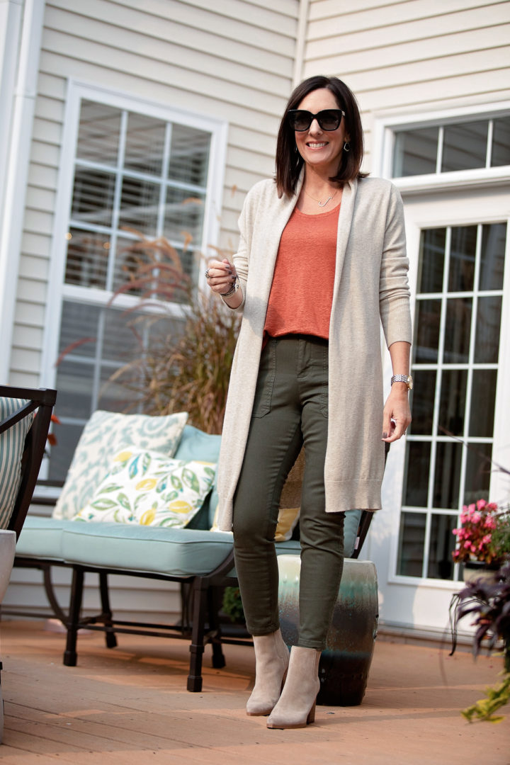 Long Cardigan Outfit with Crop Utility Pants for Fall Fashion