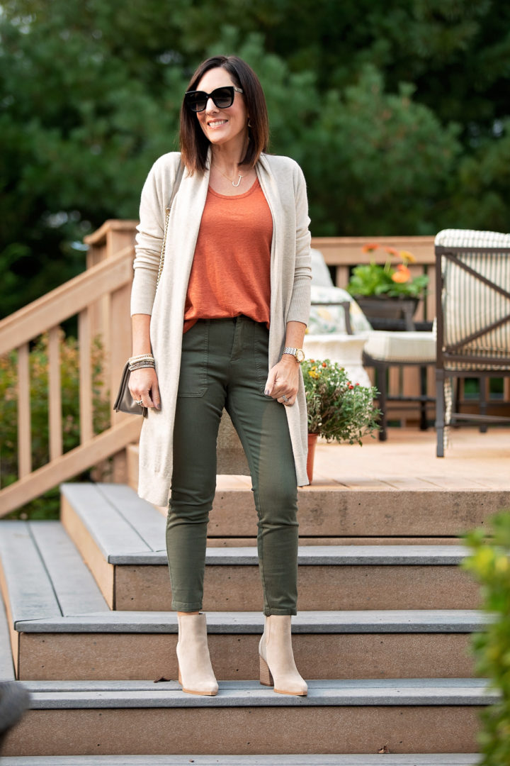 Long Cardigan Outfit with Crop Utility Pants for Fall